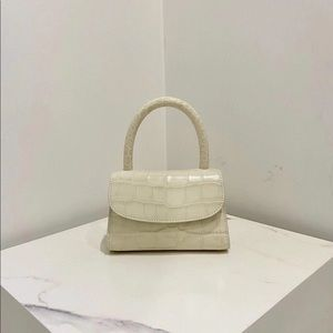 By Far Mini Croco Embossed Leather Bag in Cream